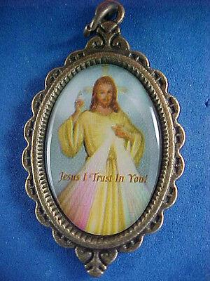 Pope John Paul Medal - Antique Bronze Saint POPE JOHN PAUL II, JESUS DIVINE MERCY Medal Year of Mercy