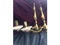 Sconces (x2) Electric (Ceramic & Brass-like)