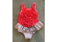 M&S baby girl pink one-piece swimsuit with ruffles 2-3y Excellent Condition