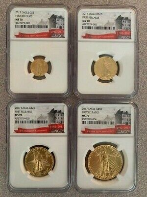 Gold Ms70 Coin Set (2017 4 COIN GOLD EAGLE SET NGC MS 70 First Release Mint State 225th Label !!! )