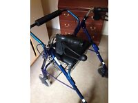 Walking mobility aid trolley with seat. Light weight folding for sale