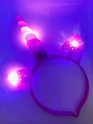 EINHORN Haarreif mit LED Licht Blinkend mit Batt. / PINK / Party / JGA / Kostüm