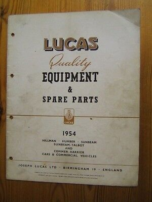 Lucas Parts  Manual 1954-Hillman,Humber,Sunbeam,Sunbeam-Talbot,Commer Commercial