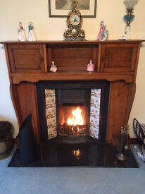 Antique Wooden Fireplace, Tiled Cast Iron Inset and Marble Hearth