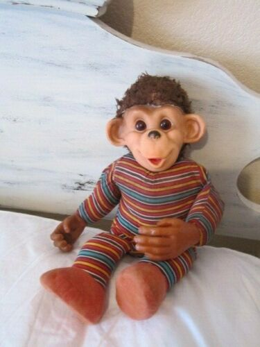 """VINTAGE MONKEY PLUSH  WITH RUBBER HANDS, FACE AND EARS 16"""""""