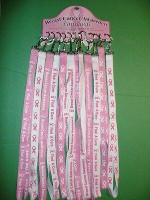 Pink Lanyards (Breast Cancer Awareness Lanyards Assorted Styles Pink Ribbon BCA Badge)