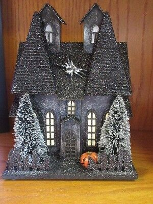 New high end Halloween lighted up Black glitter creepy house prop, decoration