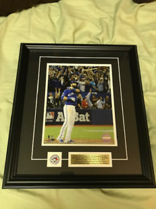 Jose Bautista Blue Jays Bat Flip Photo Matted with Pin and Plate
