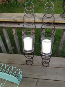 Wall Sconses with Glass Candle Holder and Candles