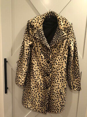 Donna Salyers Fabulous Furs Leopard Faux Fur Knee Length Coat  SMALL 14216 LEO