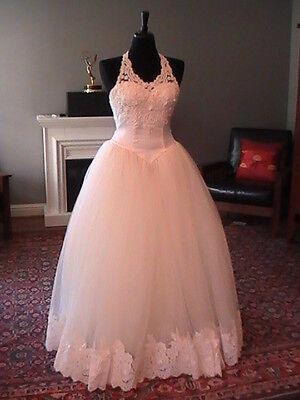 SALE! Venus Wedding Dress Ivory Halter w/ Lace and Tulle SZ 4
