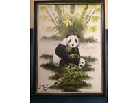 Picture painting, Panda mother and baby ,Original Oil , 1992