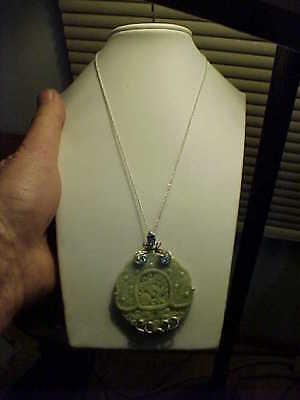Huge Carved Celadon Jade JOY HSN Chinese Motif Pendant Necklace Sterling Silver