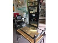 Dressing table with mirror and wicker shelve