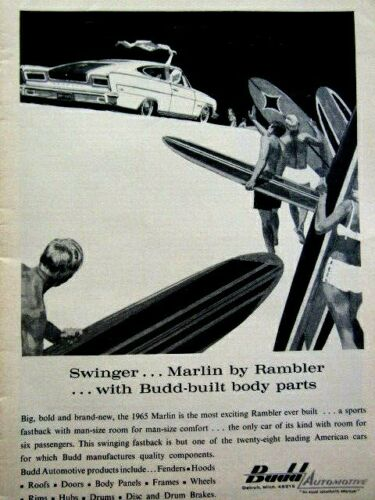 "1965 AMC Marlin Budd Automotive Swinger Original Print Ad-8.5 x 11"""