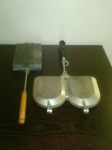 Vtg. Cast Alu Waffle and Sandwich Forms Irons