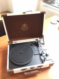 GPO Ambassador - Cream - Portable Vinyl Player / Turntable with Bluetooth