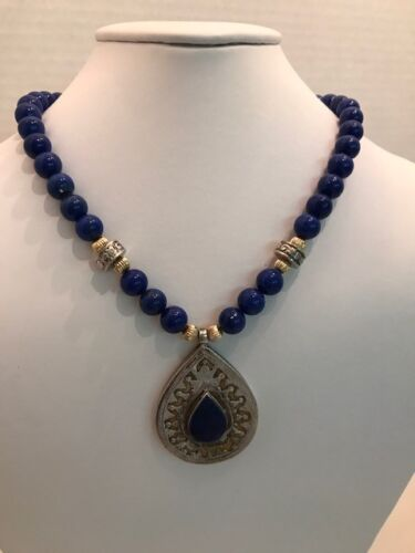 ANTIQUE TURKOMAN PENDANT IN MATCHING LAPIS LAZULI, GOLD, AND SILVER BEAD NECKLAC