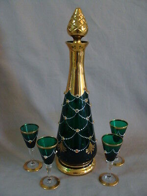 Vintage European Art Glass Decanter Set W/ 4 Cordial, Gold Gilt