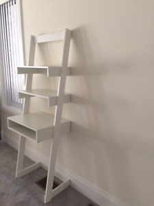 New Ladder Desk with 2 Floating Shelves and Tabletop, White