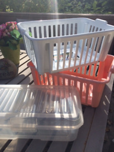 2 BINS AND PLASTIC CONTAINER - ALL FOR $10 CRAFT STORAGE: