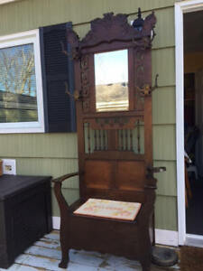 Antique Hall Tree ,umbrella stand , and hat coat rack & mirror