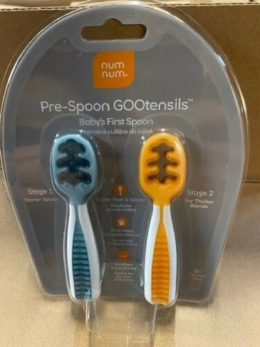 Num Num Prespoon Gootensils Dual Stage Baby Utensils Set-Blue and Orange (NEW)