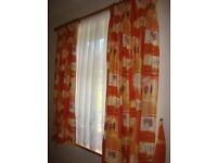 Two sets of Printed Cotton Curtains