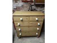 Victorian waxed pine 2 over 3 chest of drawers