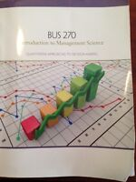 BUS 270 Introduction to management science