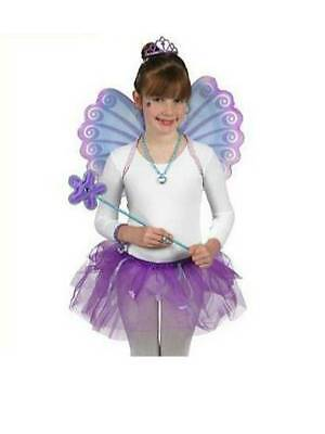 Princess Fairy Dress Up Costume Wings Tutu Magic Wand Purple Girls 4-8 yrs NEW