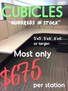 USED OFFICE CUBICLES, CALL STATIONS, MANY SIZES IN STOCK