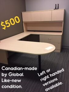 USED DESKS, U-SHAPED, NEW-CONDITION, CDN.-made