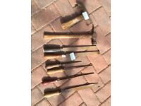 Vintage tools hammer, files, acorn plane, pick axe and pliars - see all photos below
