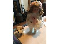 Millie and Puppy : Collectable Porcelain Doll, Brand New in Original Box
