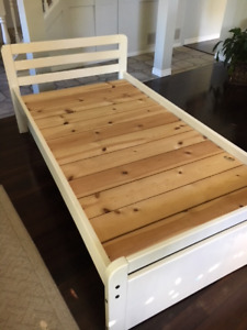 White Solid Wood Twin Bed Frame