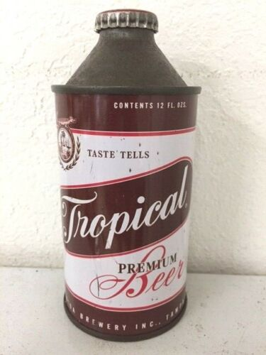 Tropical Beer Cone Top from Tampa Florida Brewery Inc. w/ original cap. RARE!!