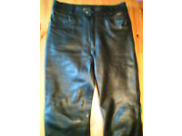 leather jeans trousers, 5 pocket black 32w 32ins leg approx