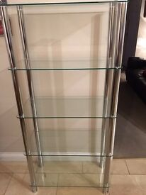 LEVV FU5TCCH 5 TIER GLASS SHELVING DISPLAY UNIT