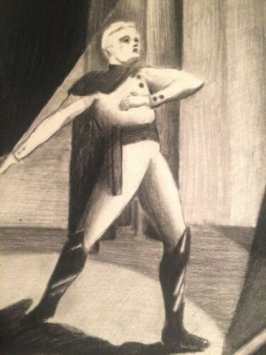 Mid-Century Charcoal Drawing Performer In Theater 19 X 15 inches Unique Modern