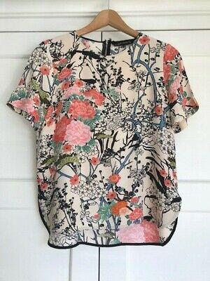 Zara Oriental Nude Colour Floral Print Top, Size M