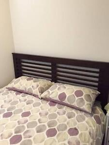 Wooden Queen Bed (Forty Winks) and Mattress Brunswick Moreland Area Preview