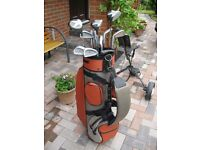 Good quality golf starter set with bag and trolley