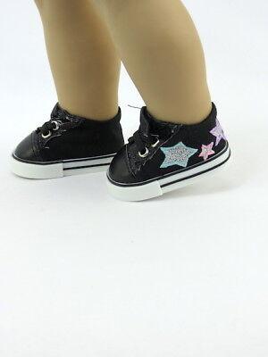 Glitter Star Shoe - Black Glitter Star Sneakers Fits 18