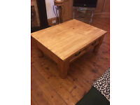 Large beautiful pine coffee table