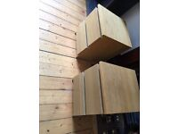 pair Ikea Malm bedside chest of oak drawers