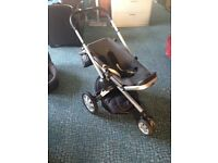 Quinny Buzz Pram with Carry Cot, Foot Muff and clear Rain Cover