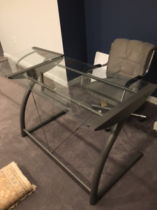 Glass office desk and chair