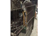 4 Real Wrought Iron Hooped Top Railings handmade 6ft x 6ft Punched horizontal bars