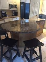 8 ft. Solid Granite Island & Eating Counter